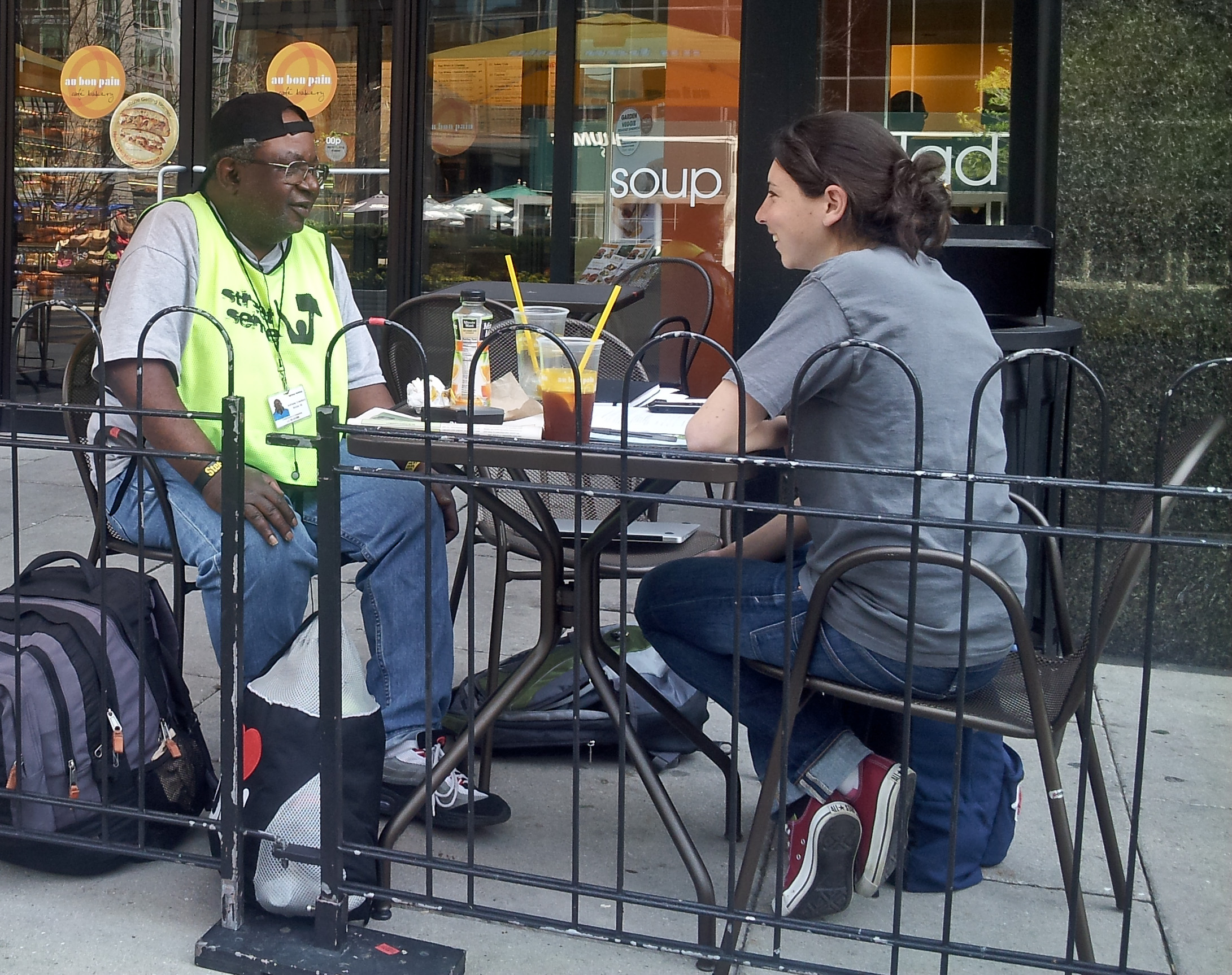 Anthony and Elizabeth meeting at Au Bon Pain to discuss housing options.
